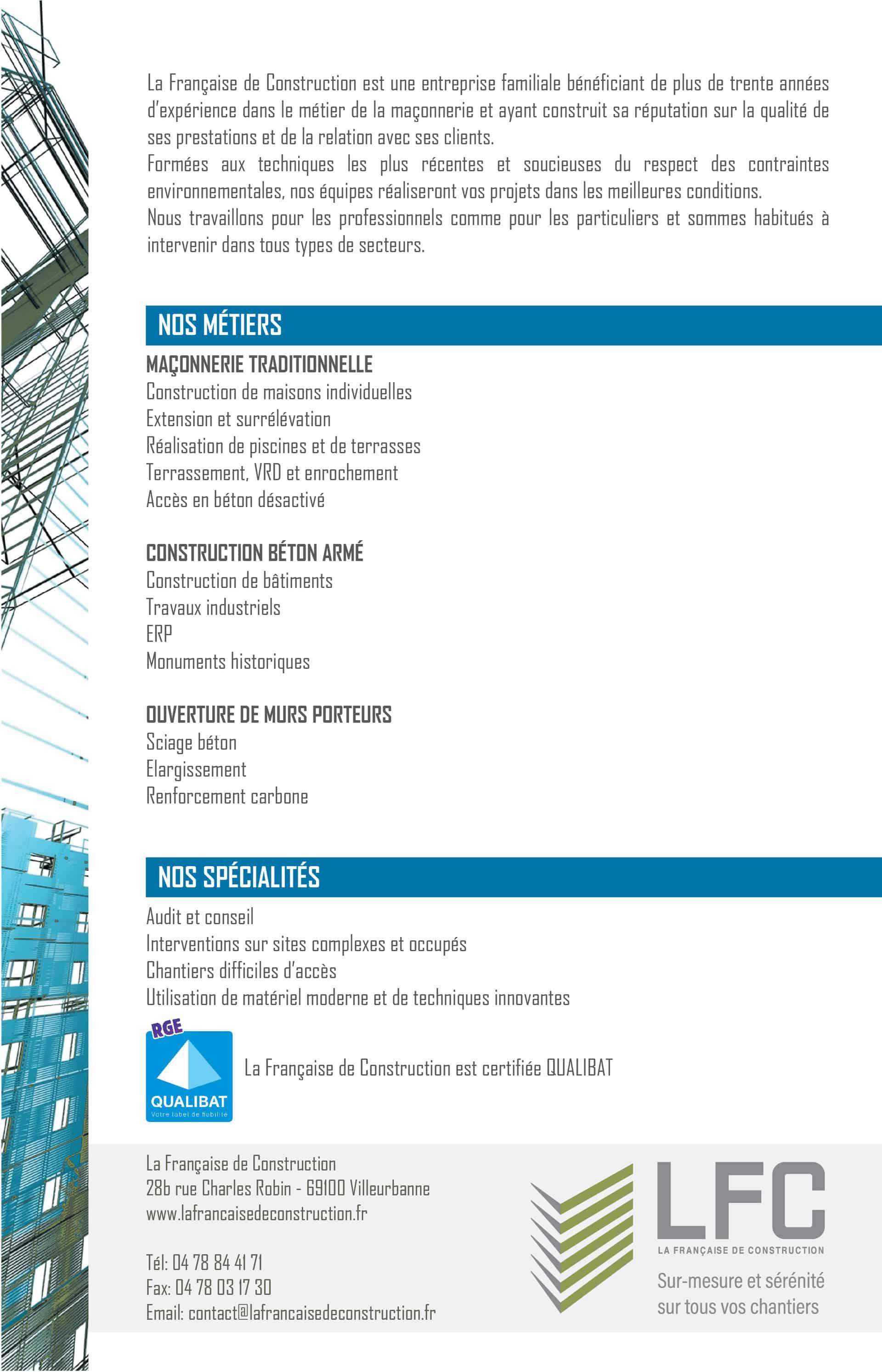 Brochure La Française de Construction Verso